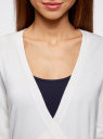 Жакет трикотажный с запахом oodji #SECTION_NAME# (белый), 63212495/18944/1200N - вид 4