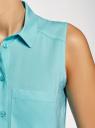 Топ вискозный с нагрудным карманом oodji #SECTION_NAME# (бирюзовый), 11411108B/45470/7300N - вид 5