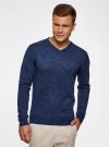 Пуловер вязаный с принтом oodji #SECTION_NAME# (синий), 4L212151M/44326N/7529F - вид 2
