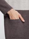 Кардиган двухцветный с капюшоном и карманами oodji #SECTION_NAME# (серый), 73207204/45963/2520B - вид 5