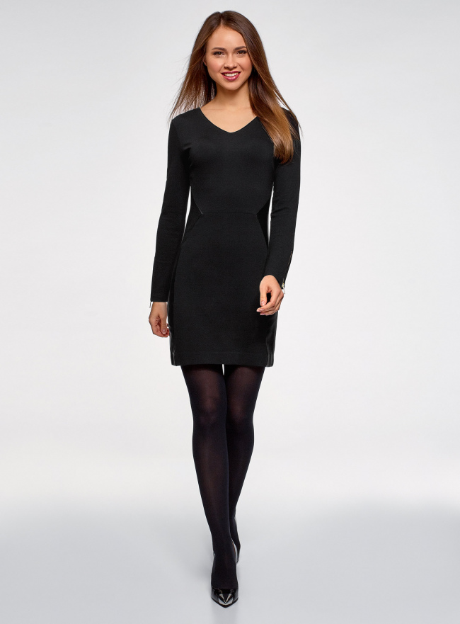Платье комбинированное oodji для женщины (черный), 14011004/33185/2900N
