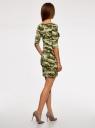 Платье трикотажное облегающего силуэта oodji #SECTION_NAME# (зеленый), 14001121-4B/46943/6025O - вид 3