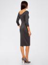 Платье облегающее с вырезом-лодочкой oodji #SECTION_NAME# (серый), 14017001/42376/2500M - вид 3