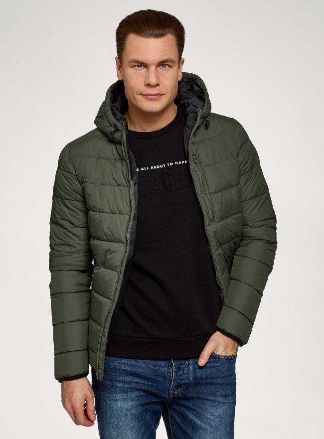 Куртка стеганая с капюшоном oodji #SECTION_NAME# (зеленый), 1B112027M/33743/6600N