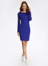 Платье трикотажное облегающего силуэта oodji для женщины (синий), 14001183B/46148/7500N - вид 2