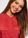 Блузка вискозная с регулировкой длины рукава oodji #SECTION_NAME# (красный), 11403225-3B/26346/4500N - вид 4