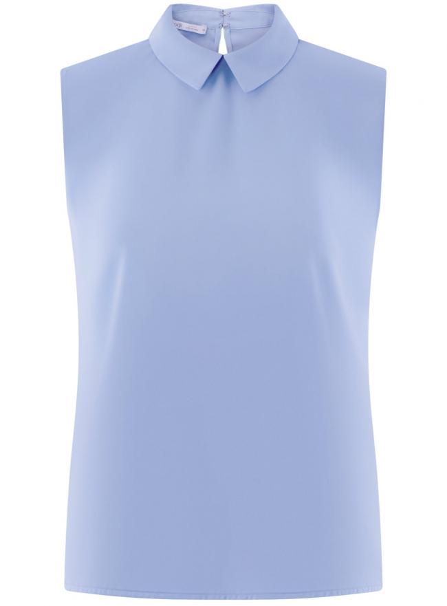 Топ базовый из струящейся ткани oodji для женщины (синий), 14911006-2B/43414/7500N