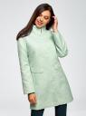 Пальто прямого силуэта из фактурной ткани oodji #SECTION_NAME# (бирюзовый), 10104043/43312/6500N - вид 2