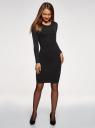 Платье облегающее вязаное в рубчик oodji для женщины (черный), 73912218/45755/2900N