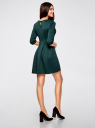 Платье трикотажное со складками на юбке oodji #SECTION_NAME# (зеленый), 14001148-1/33735/6E00N - вид 3