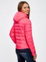 Куртка стеганая с капюшоном oodji #SECTION_NAME# (розовый), 10204053/47173/4D00N - вид 3