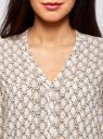 Блузка принтованная из вискозы oodji #SECTION_NAME# (белый), 11411049-1/24681/1233K - вид 4