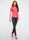 Рубашка с V-образным вырезом и отложным воротником oodji для женщины (розовый), 11402087/35527/4D00N - вид 6