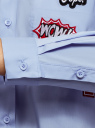 Рубашка oversize с нашивками oodji #SECTION_NAME# (синий), 13K11004/42785/7000N - вид 5