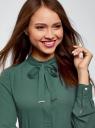 Блузка свободного силуэта с завязками oodji #SECTION_NAME# (зеленый), 21411094B/48854/6E00N - вид 4