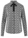 Рубашка хлопковая с завязками  oodji #SECTION_NAME# (черный), 13K11005/43609/2910G