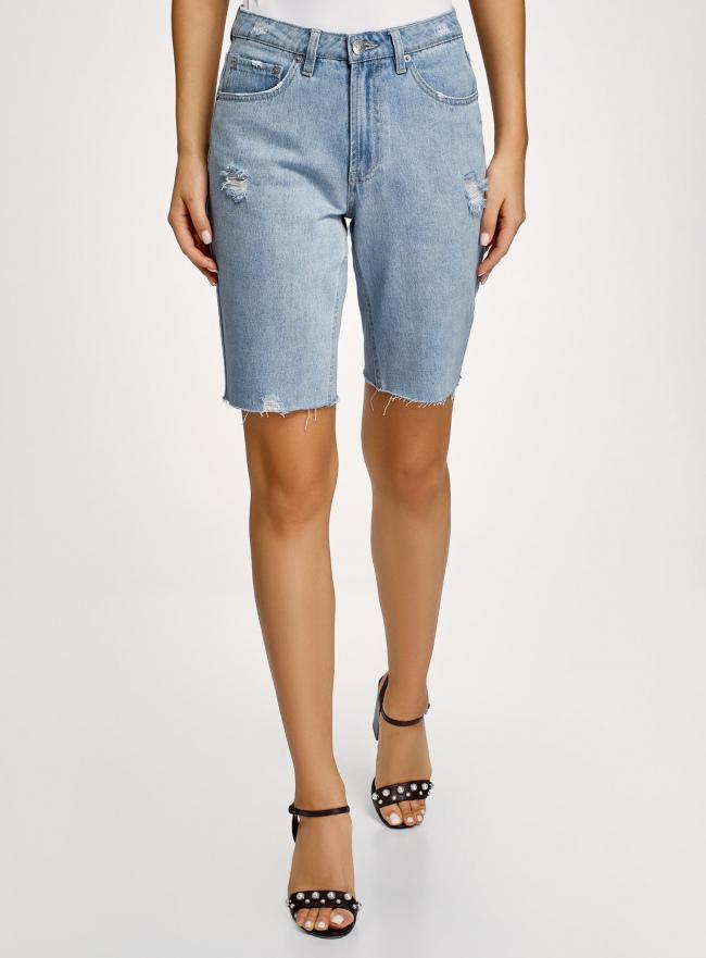 Шорты джинсовые удлиненные oodji для женщины (синий), 12807097/49982/7000W