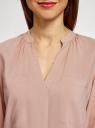 Блузка вискозная с нагрудными карманами oodji #SECTION_NAME# (розовый), 11411201/24681/4B00N - вид 4