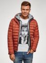 Куртка стеганая с капюшоном oodji #SECTION_NAME# (оранжевый), 1B112009M/25278N/5500N - вид 2