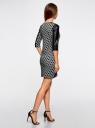 Платье с флоком и отделкой из искусственной кожи oodji #SECTION_NAME# (серый), 14001143-3/42376/2329O - вид 3