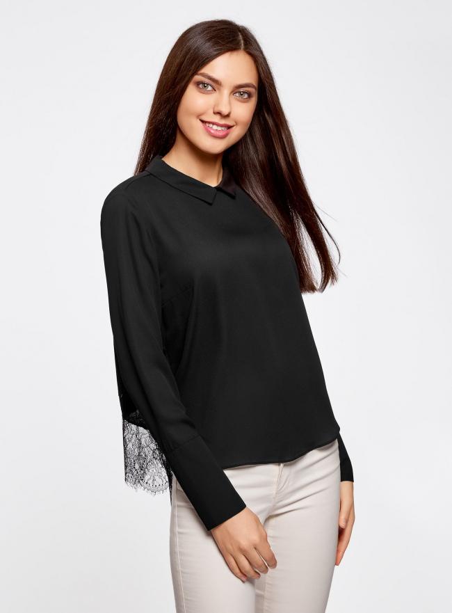 Блузка с отложным воротником и кружевной отделкой oodji для женщины (черный), 21400406/45287/2900N