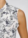 Топ из струящейся ткани с жабо oodji для женщины (белый), 24911001-1B/48854/1279F - вид 5