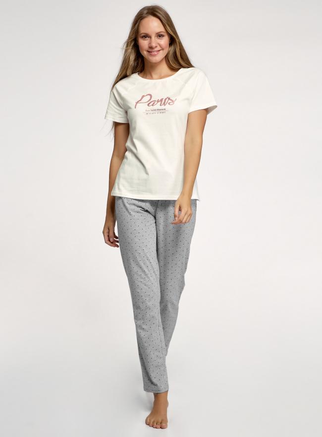 Пижама хлопковая с брюками oodji для женщины (серый), 56002200-9/46154/2329P