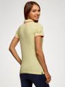 Поло из ткани пике с вышивкой oodji для женщины (желтый), 19301001-12/46161/5019O