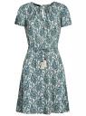 Платье с вырезом-капелькой и поясом на резинке oodji #SECTION_NAME# (зеленый), 11913043/46633/3073E