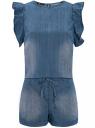 Комбинезон джинсовый с рукавами-крылышками oodji #SECTION_NAME# (синий), 13109008/18361/7500W