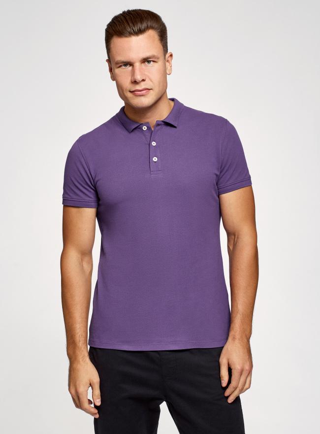 Поло из ткани пике oodji для мужчины (фиолетовый), 5B422001M/44032N/8301N