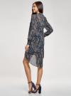 Платье шифоновое с асимметричным низом oodji для женщины (синий), 11913032/38375/7933E - вид 3