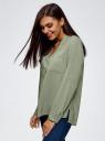 Блузка принтованная из вискозы oodji #SECTION_NAME# (зеленый), 11411049-1/24681/6000N - вид 2