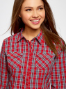 Рубашка в клетку хлопковая oodji для женщины (красный), 11405122-3/42521/4575C