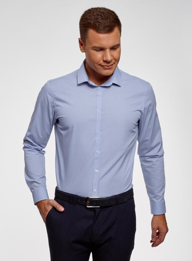 Рубашка хлопковая приталенная oodji для мужчины (синий), 3B110029M-1/48958N/7078G
