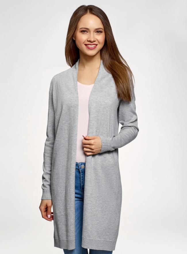 Кардиган удлиненный без застежки oodji для женщины (серый), 73212385-1B/43755/2300M