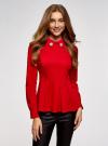 Блузка с баской и декором на воротнике  oodji #SECTION_NAME# (красный), 13K00001-2B/42083/4500N - вид 2