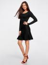 Платье вязаное с расклешенным низом oodji для женщины (черный), 63912223/46096/2900N - вид 6