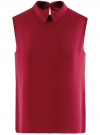 Блузка базовая без рукавов с воротником oodji #SECTION_NAME# (красный), 11411084B/43414/4900N