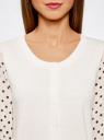 Жакет с принтованными рукавами из шифона oodji для женщины (белый), 63212394-1/43403/1229D