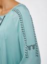 Платье вискозное с вышивкой и декоративными завязками oodji #SECTION_NAME# (бирюзовый), 21914003/33471/7300N - вид 5
