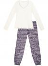 Пижама хлопковая с брюками oodji #SECTION_NAME# (разноцветный), 56002226/46154/1283E