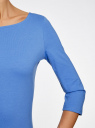 Платье трикотажное базовое oodji #SECTION_NAME# (синий), 14001071-2B/46148/7501N - вид 5