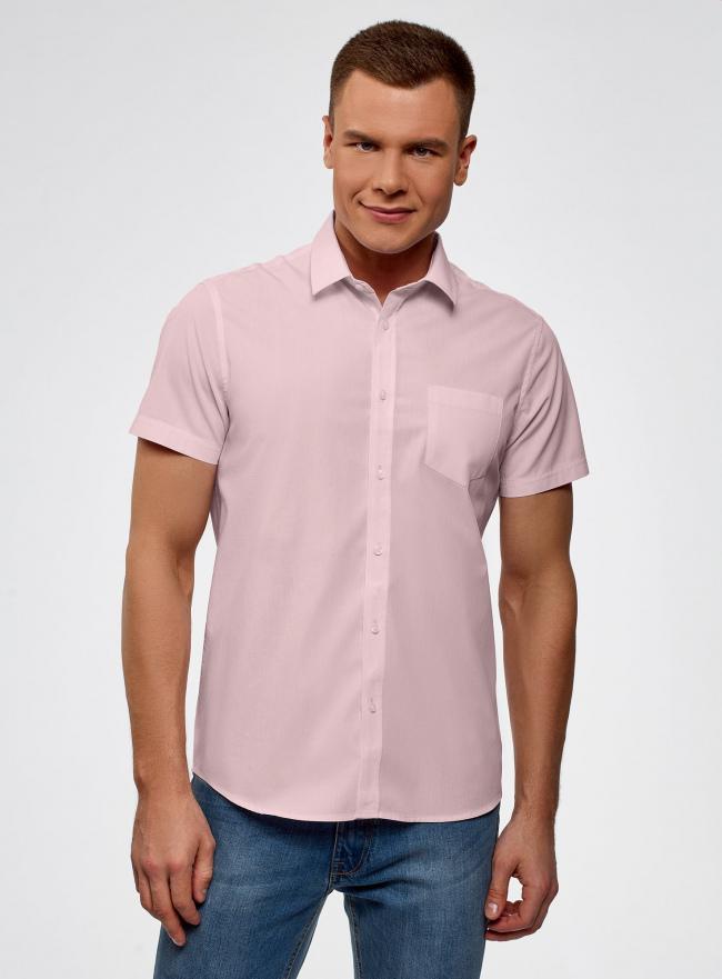 Рубашка приталенная с нагрудным карманом oodji #SECTION_NAME# (розовый), 3L210040M/46245N/4000N