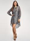 Платье шифоновое с асимметричным низом oodji для женщины (серый), 11913032/38375/2029A - вид 2