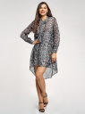Платье шифоновое с асимметричным низом oodji #SECTION_NAME# (серый), 11913032/38375/2029A - вид 2