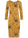 Платье трикотажное с вырезом-капелькой на спине oodji #SECTION_NAME# (желтый), 24001070-5/15640/5725F
