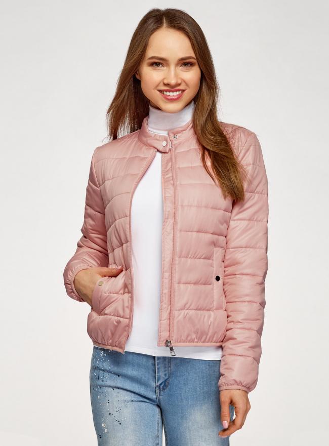 Куртка стеганая с воротником-стойкой oodji для женщины (коричневый), 10203060B/43363/4B00N