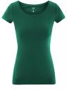 Футболка базовая приталенная oodji для женщины (зеленый), 14701005-7B/46147/6E00N