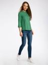 Блузка вискозная с регулировкой длины рукава oodji #SECTION_NAME# (зеленый), 11403225-3B/26346/6E00N - вид 6